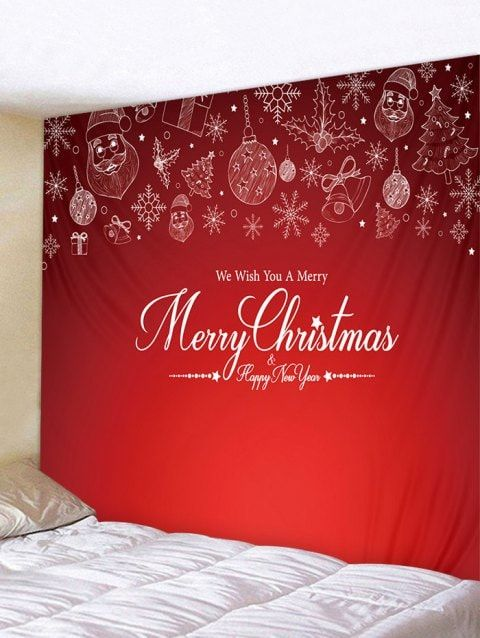 d62cf7870c9 Merry Christmas Print Tapestry Art Decoration - multicolor W91 X L71 INCH