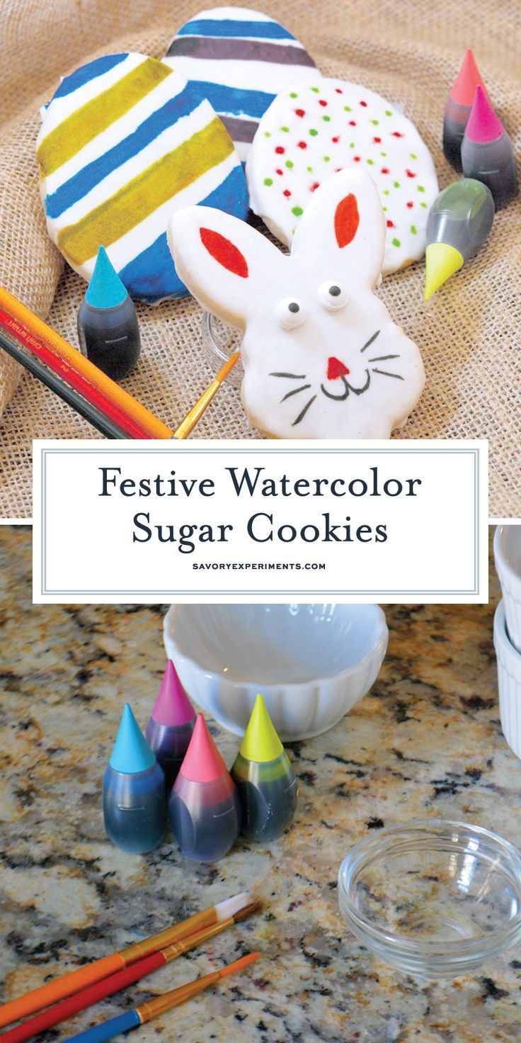 Watercolor Sugar Cookies can be made for any holiday, but I like them best for Easter. Easter Egg Cookies and Bunny Cookies are just so pretty with the soft glow of watercolor! #watercolorsugarcookies #sugarcookiecutouts #eastercookies www.savoryexperiments.com