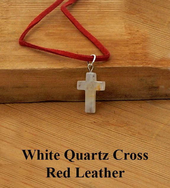 White Quartz Cross Pendant On 18 Inches Of Red Leather Religious Birthday Or Friendship Gift For Him Her By BettyCampbell