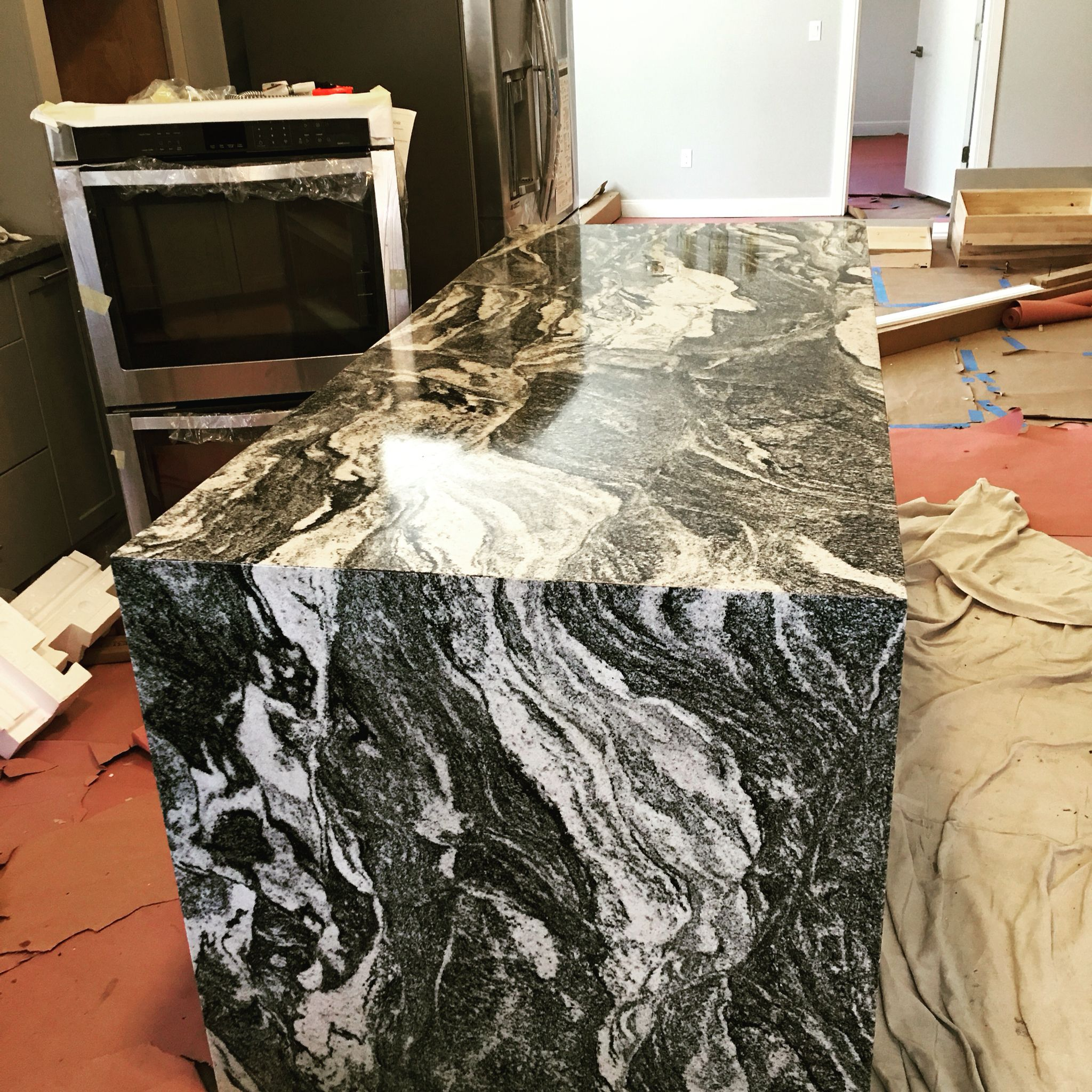 Kitchen Island Waterfall Granite Color Black Forest Venezia Marble