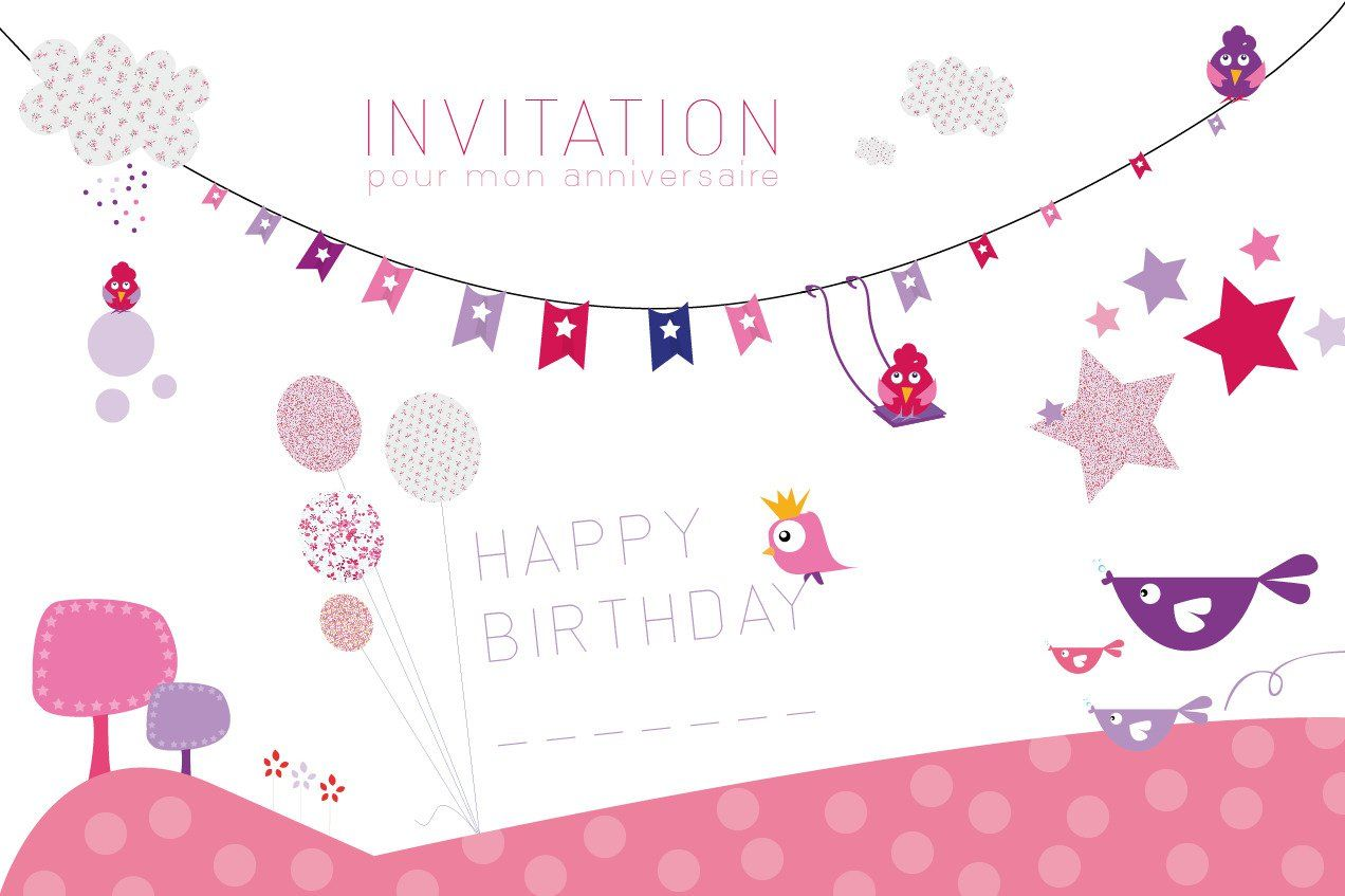 Super carte invitation anniversaire fille : Carte d invitation  QJ75