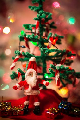 Pipe Cleaner Santa Tree Dyi Christmas Crafts Ornaments