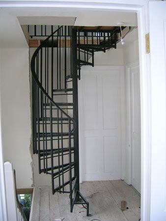 Space Saving Attic Spiral Stairs Stairs In Kitchen Stairs For | Spiral Staircase To Attic Bedroom | Loft Bedroom | Tight Space | Design | Before And After | Attic Ladder