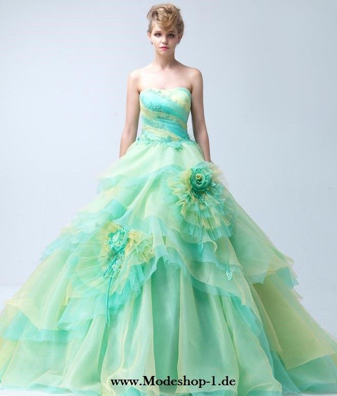 Prächtiges Ballkleid mit Bunte Blumen im Online Mode Shop ...