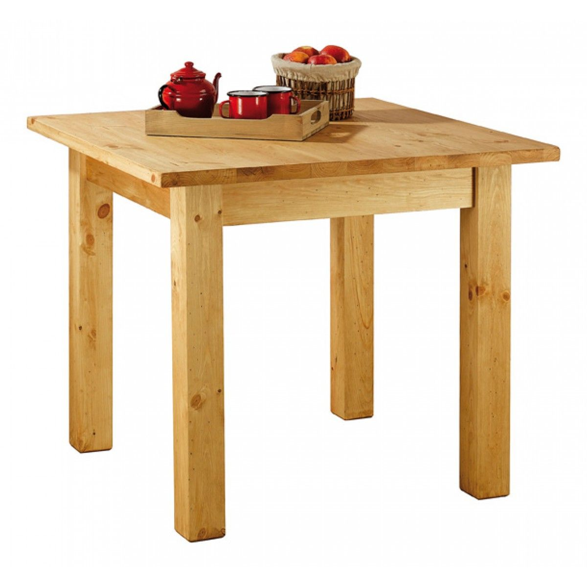 table carrée rustique en pin massif 90 cm farmer | table repas en