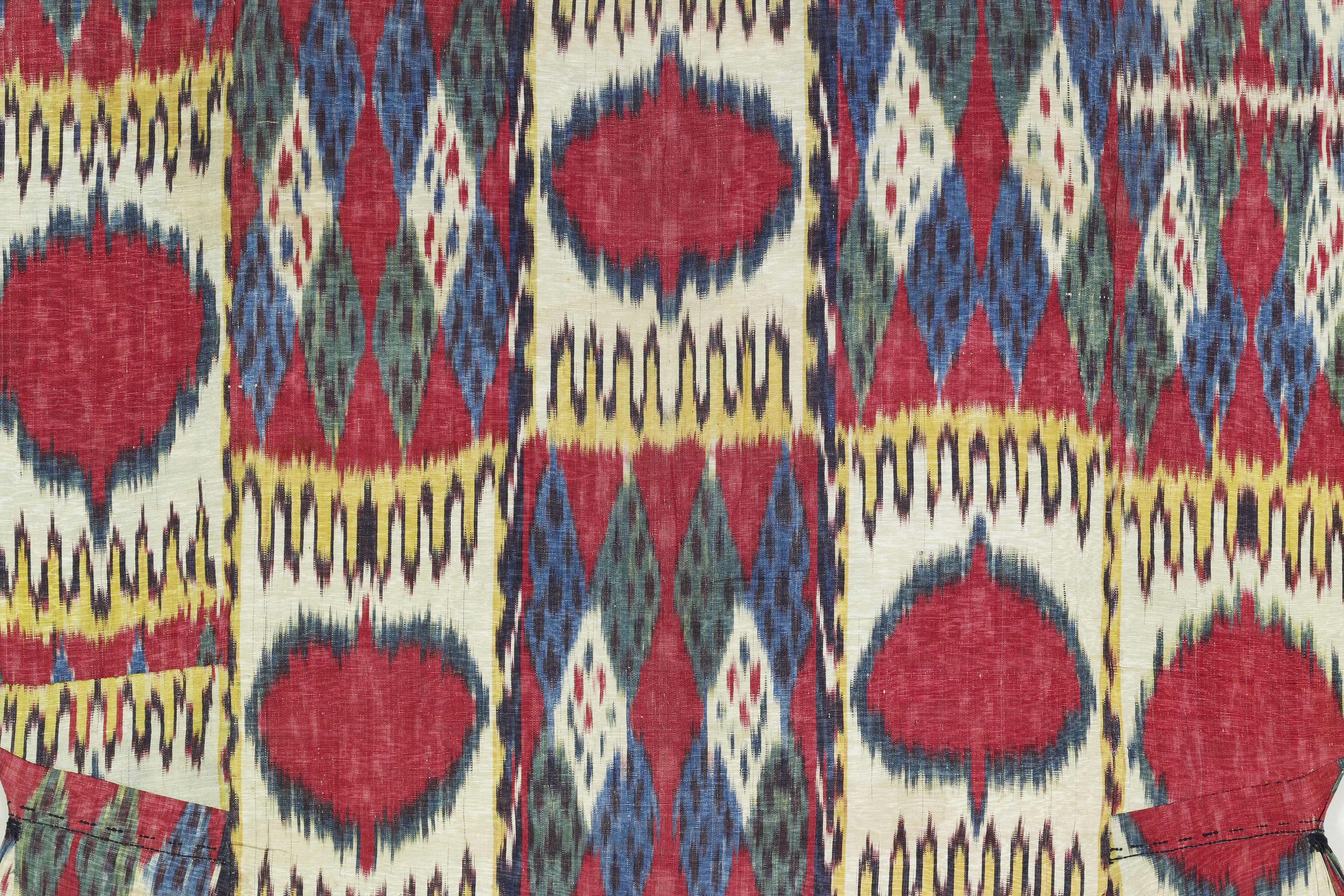Woman's robe (munisak) (detail), Central Asia, Uzbekistan, Bukhara, mid-19th century. Silk, cotton. Promised gift TD1141.2. Murad Megalli Collection.