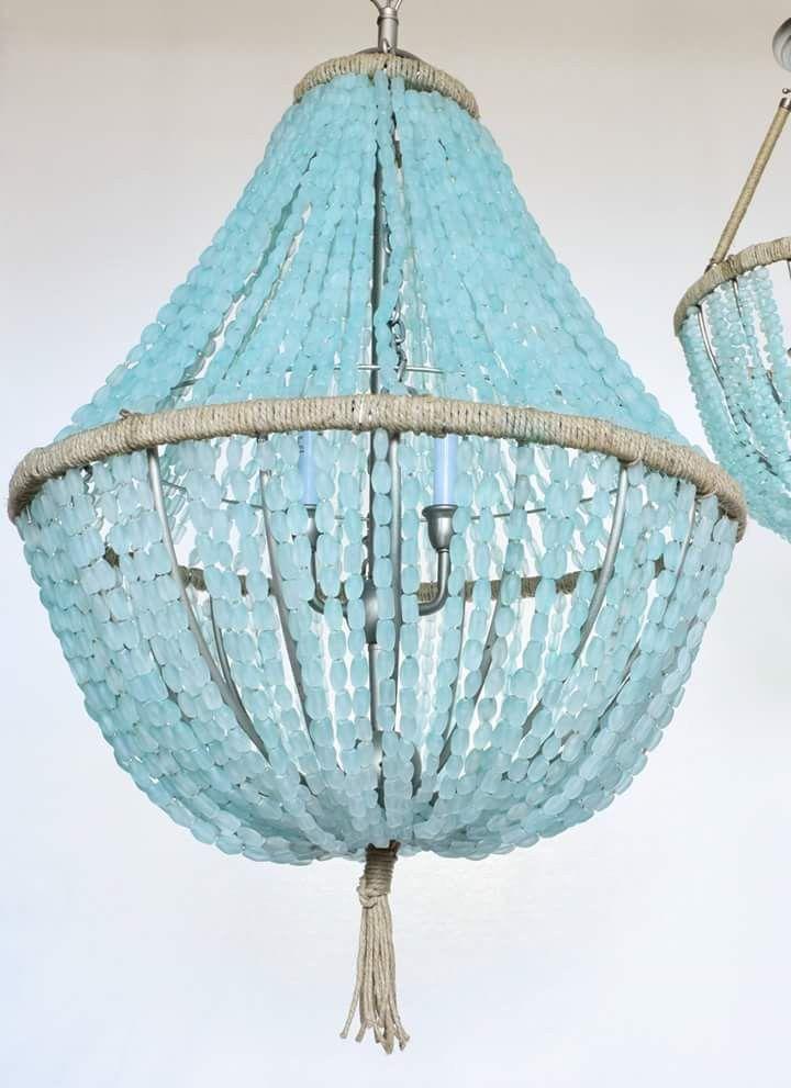 Celeste Sea Glass Empire Chandelier Nuggets   Coastal