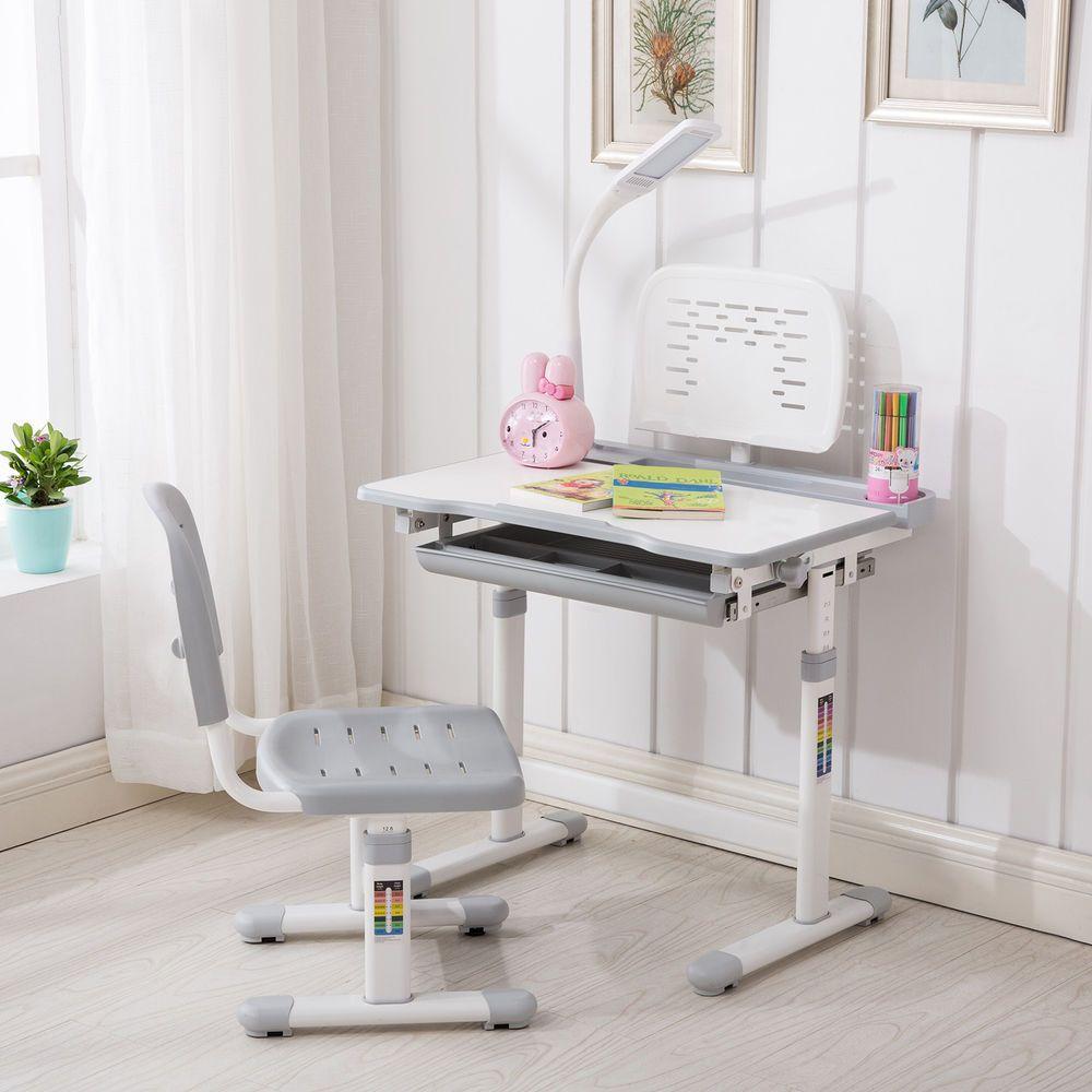 Grey Adjustable Children S Study Desk Chair Set Child Kids Table W Desk Lamp Childrens Desk And Chair Kids Study
