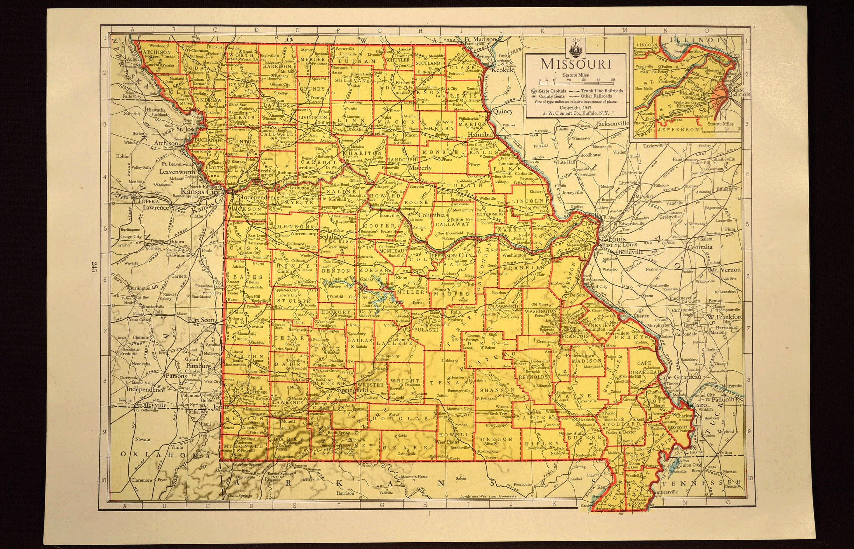 Colorful Yellow Vintage Missouri Map Missouri Wall Art Colored | Map ...