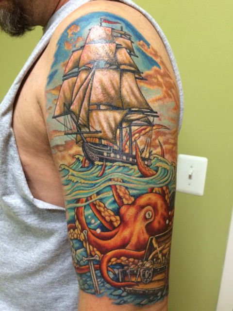 uss constitution and kraken half sleeve work by neil stavely at bodyart tattoo studio. Black Bedroom Furniture Sets. Home Design Ideas