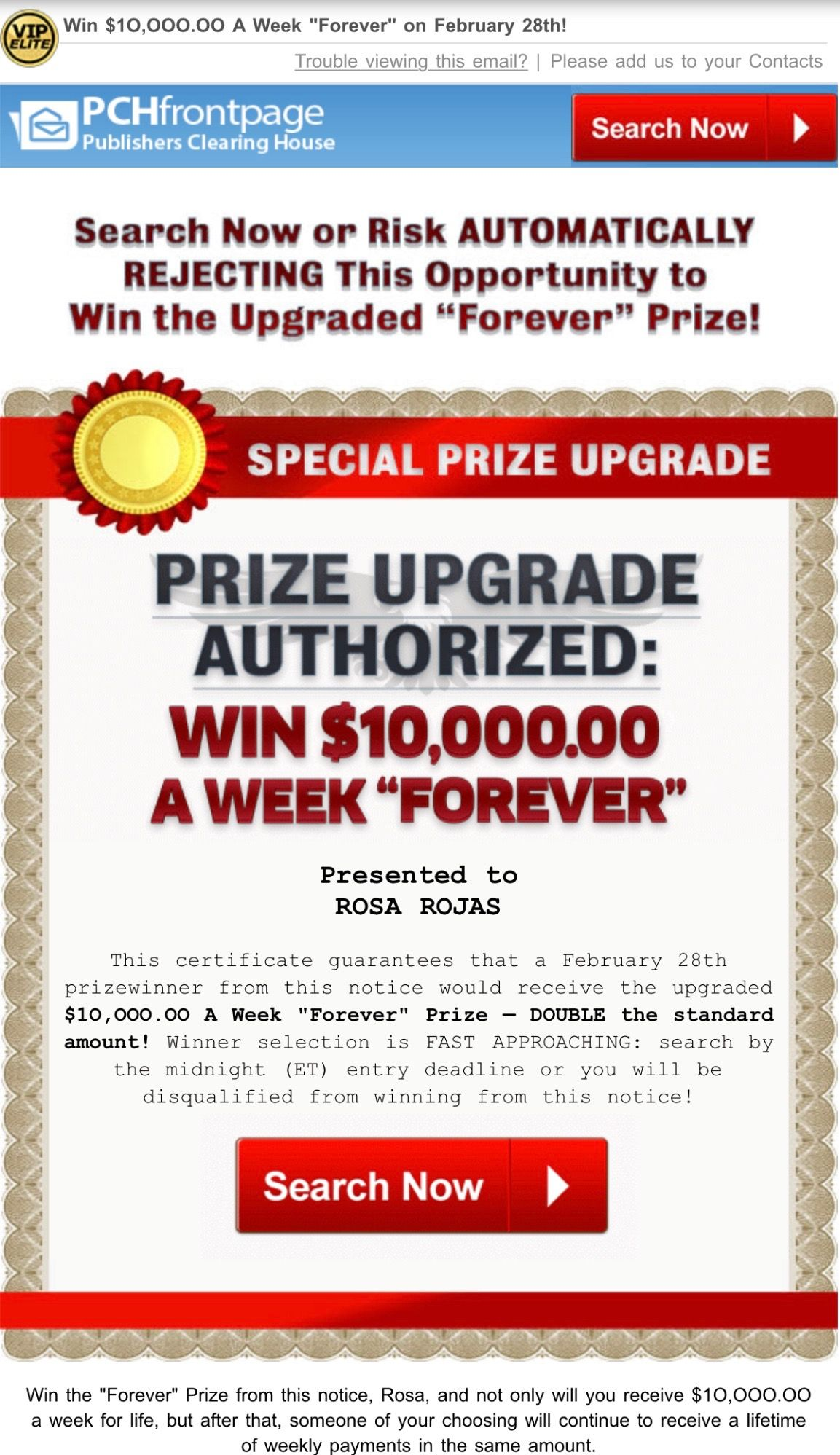 PCH SPECIAL PRIZE UPGRADE! I Rosa Rojas Claim AUTHORIZED $10,000 00