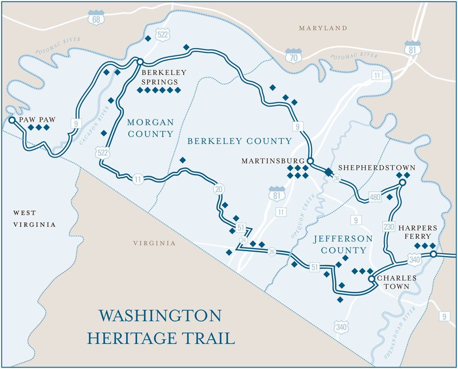 Harpers Ferry Virginia Map.Middleway West Virginia George Washington Heritage Trail Map