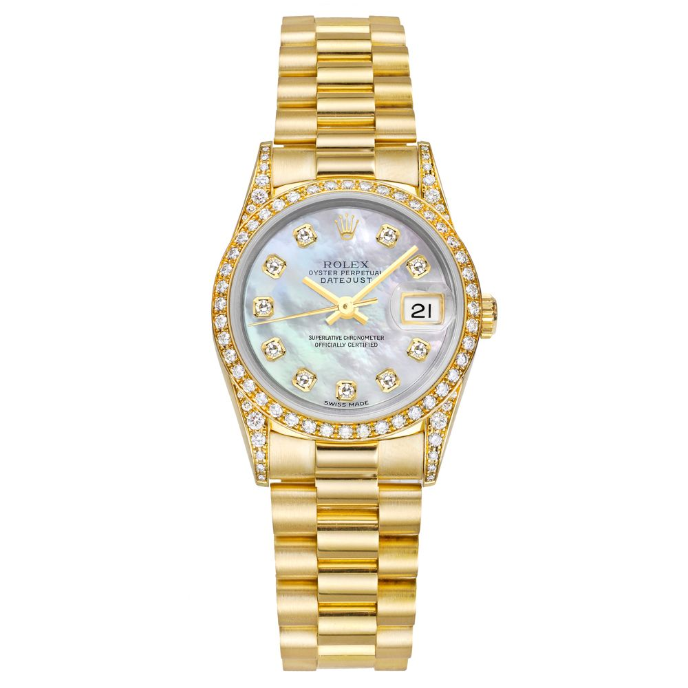 Pre Owned Rolex Lady Datejust President Automatic Yellow Gold Diamonds 6915889u Rolex Watches Women Fashion Gold Diamond