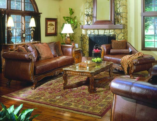 The Furniture Brown Color Leather Living Room Set By Collezione