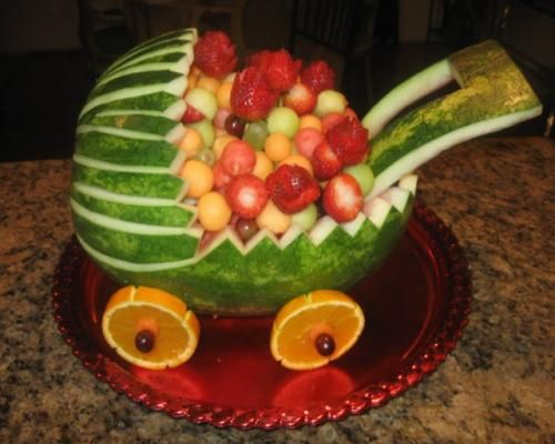 watermelon baby carriage fruit bowl - Google Search | Baby Shower ...