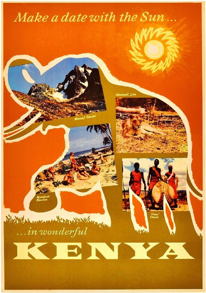 Africa Fly B-O-A-C Elephant Vintage African Travel Advertisement Poster