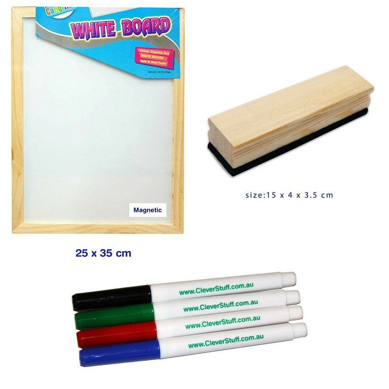 Magnetic whiteboard with wooden frame PLUS a wooden eraser PLUS 4 ...