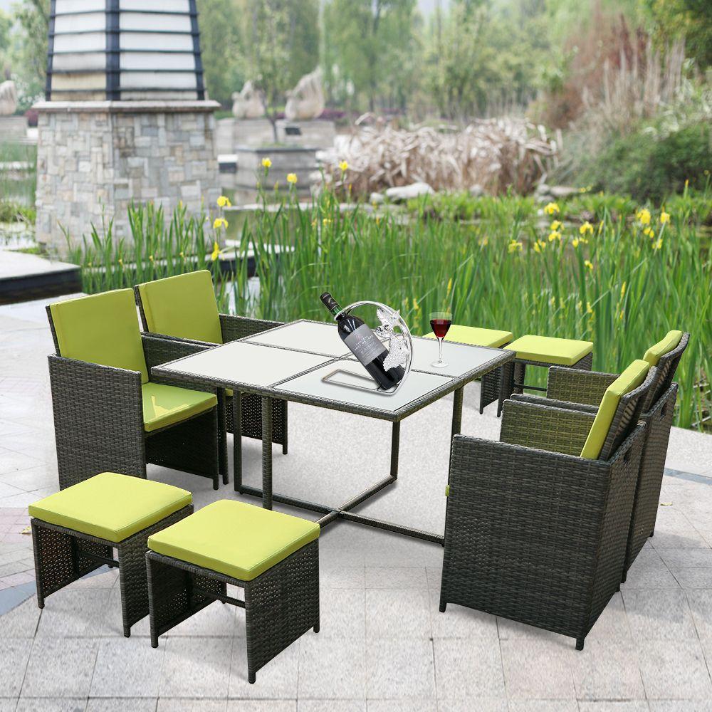 Green Ikayaa 9pcs 8 Seater Rattan Patio Garden Outdoor Dining