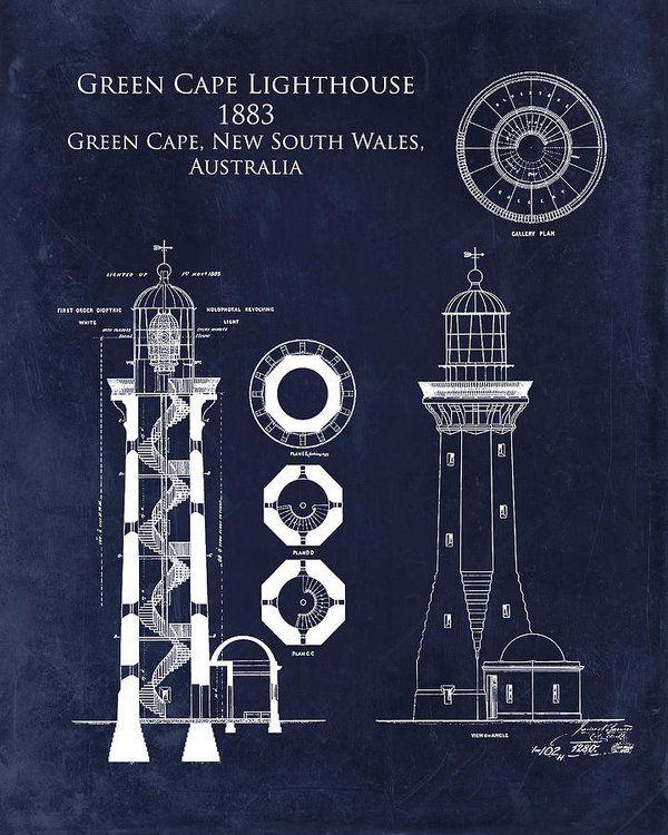 Green cape lighthouse blueprint art print by sara h malvernweather Images