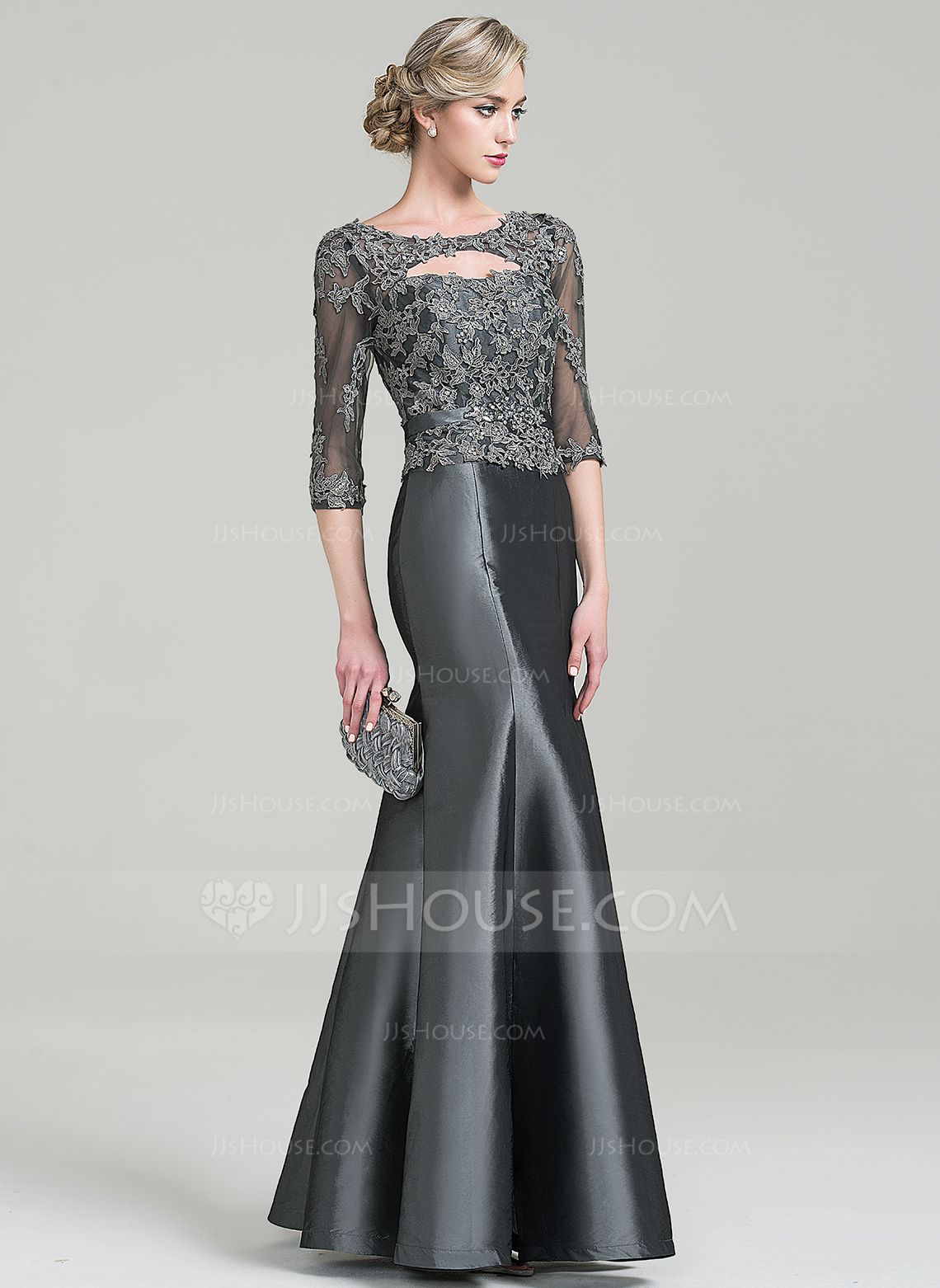 Trumpet/Mermaid Scoop Neck Floor-Length Beading Appliques Lace Sequins Zipper Up Sleeves 3/4 Sleeves No 2016 Other Colors General Plus Taffeta Mother of the Bride Dress