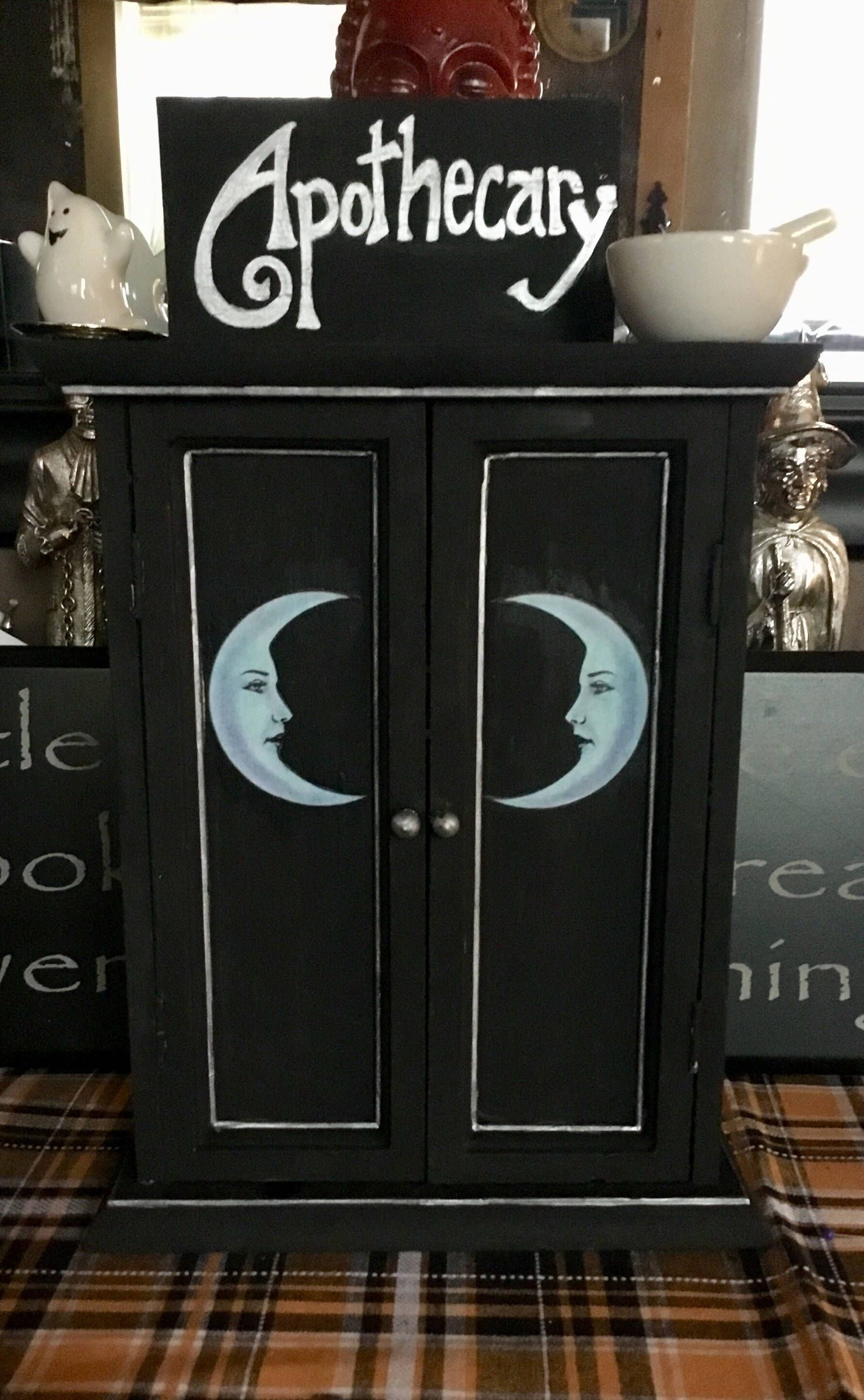 Witches Apothecary Cabinet  Moons, Potions, Herbs, Crystals