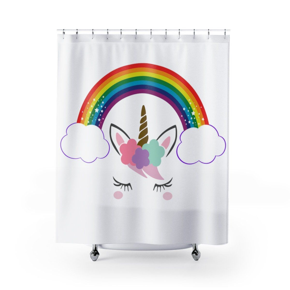 Rainbow Unicorn Shower Curtains Living Shower Curtain Panel