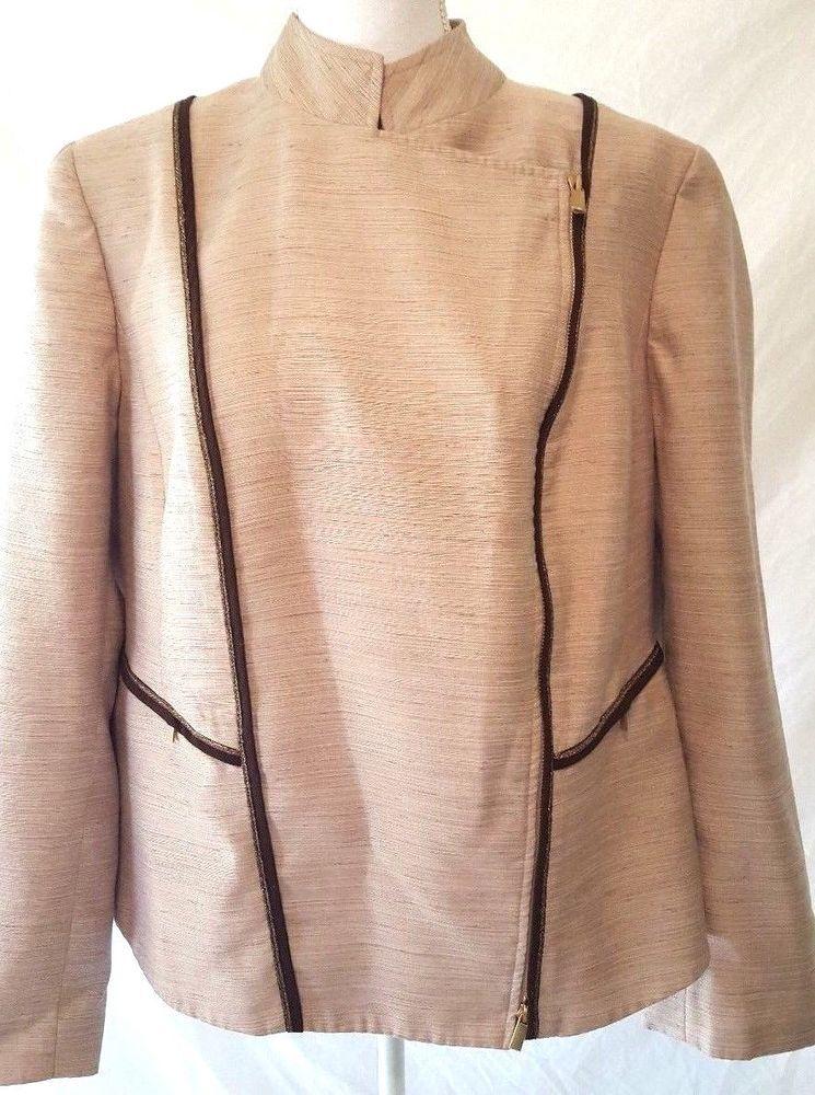 Jones New York Womans Collection Beige Side Zipper Blazer Jacket 16W #JonesNewYork #Blazer