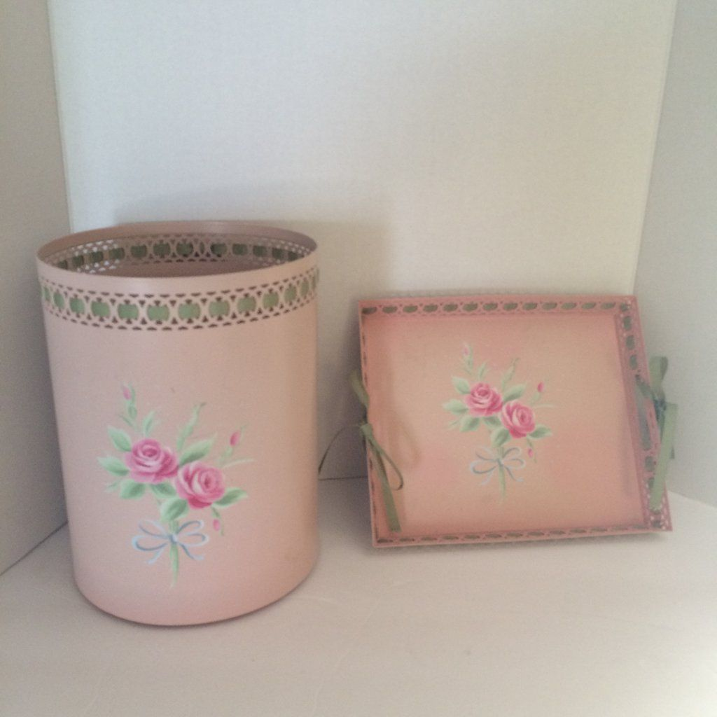 Shabby Chic Waste Baskets Vintage Simply Shabby Chic Pink Roses Waste Basket And Vanity Tray