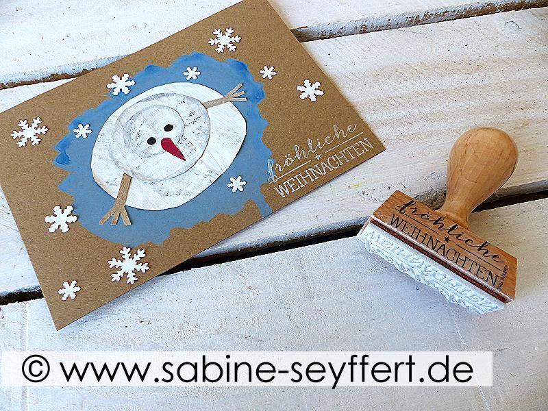 Gebastelte Weihnachtskarten.Diy Selbst Gebastelte Weihnachtskarten Mit Winterlichem Schneemann