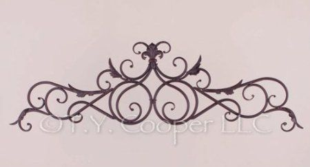 Amazon Com Wrought Iron 37 5 X 11 5 Door Topper Wall Decor Grille Home Kitchen Wall Decor Window Toppers Swirl Design