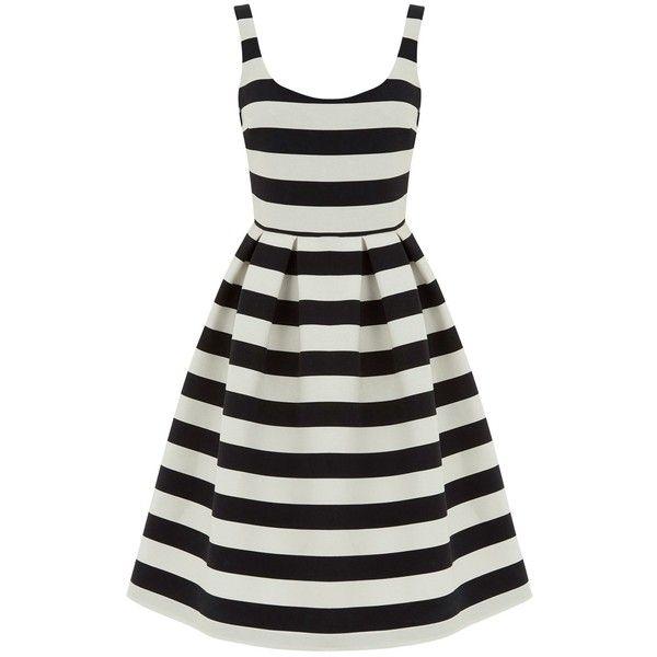 Warehouse Stripe Prom Dress, Black/White (1 825 UAH) ❤ liked on ...