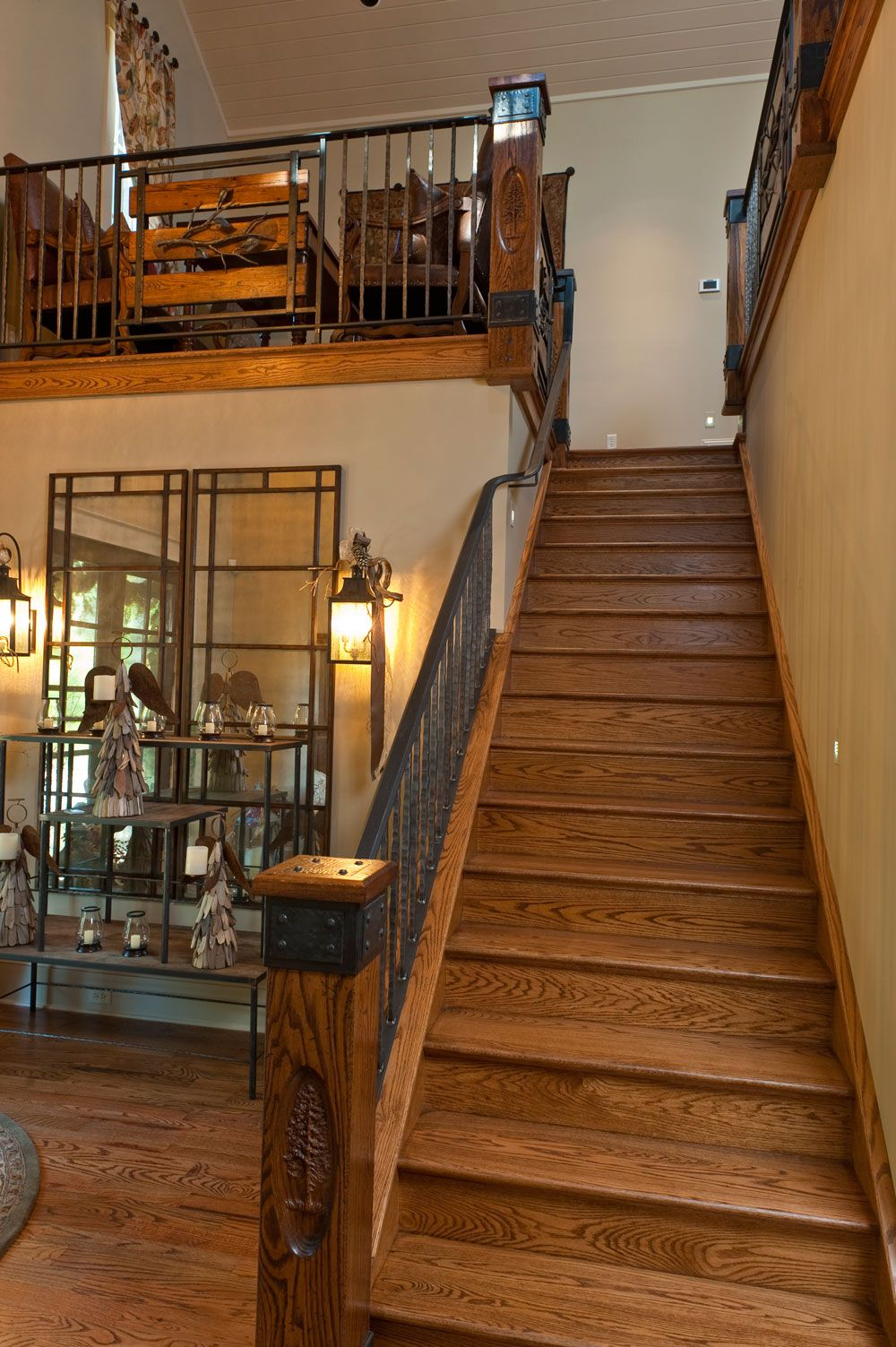 Best Black Iron Railing And Solid Wood Posts Interior Balcony 400 x 300