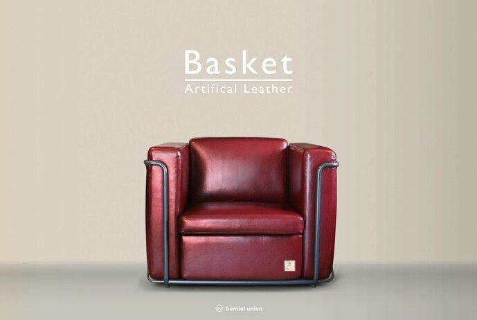 Bemiel Union_Basket Sofa#Artifical Leather#Burgundy#1p  www.bemiel.com