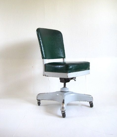 vintage harter industrial swivel green office chair by foundshop