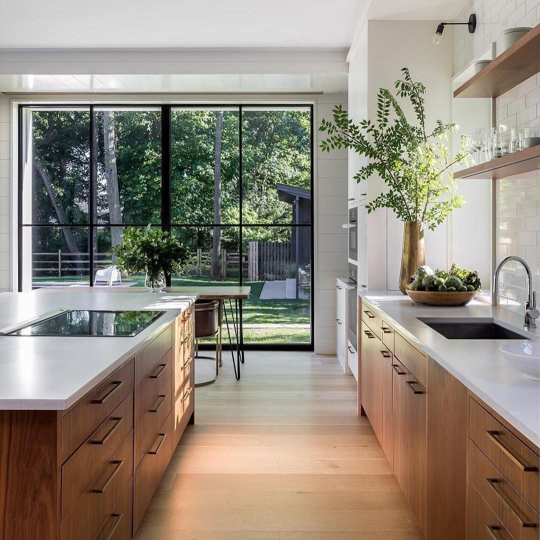 Such An Elegant Kitchen The View Natural Wood Tones And Open