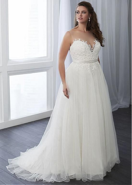 [158.99] Marvelous Tulle Scoop Neckline A-line Plus Size Wedding Dress With Beaded Lace Appliques & Belt - magbridal.com.cn 2