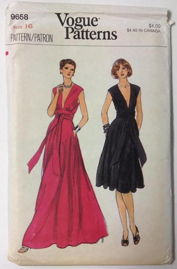 1980s Vogue Formal Dress Patterns 9658 Rare Vogue Pattern Misses