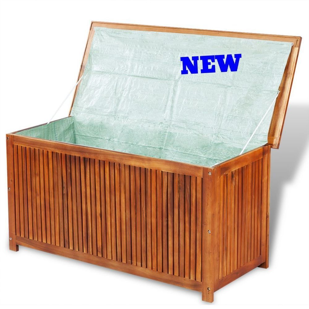 Details About Patio Storage Box Tools Wood Deck Balcony Porch Outdoor  Organizer Sturdy Chest