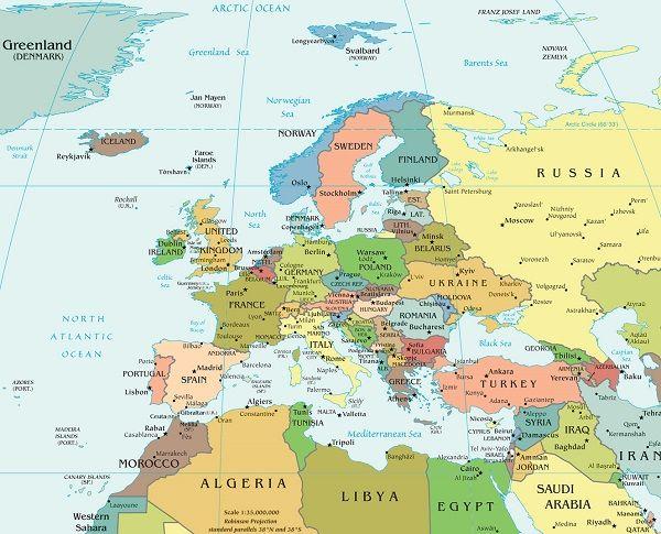 Mapa poltico de Europa  MAPAS  Pinterest  Mapa de europa De