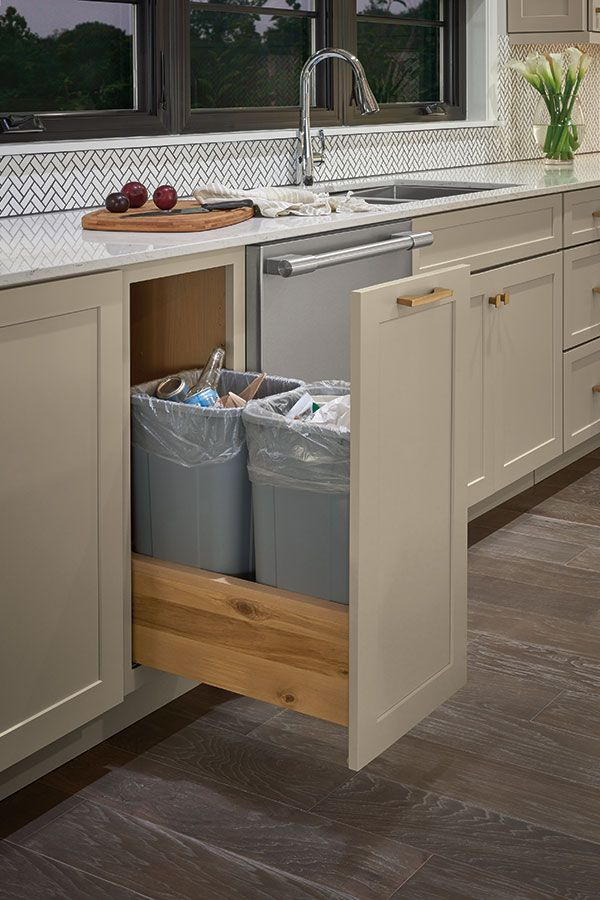 diamond cabinets double trash can pull-out   trash can cabinet, kitchen remodel, french country