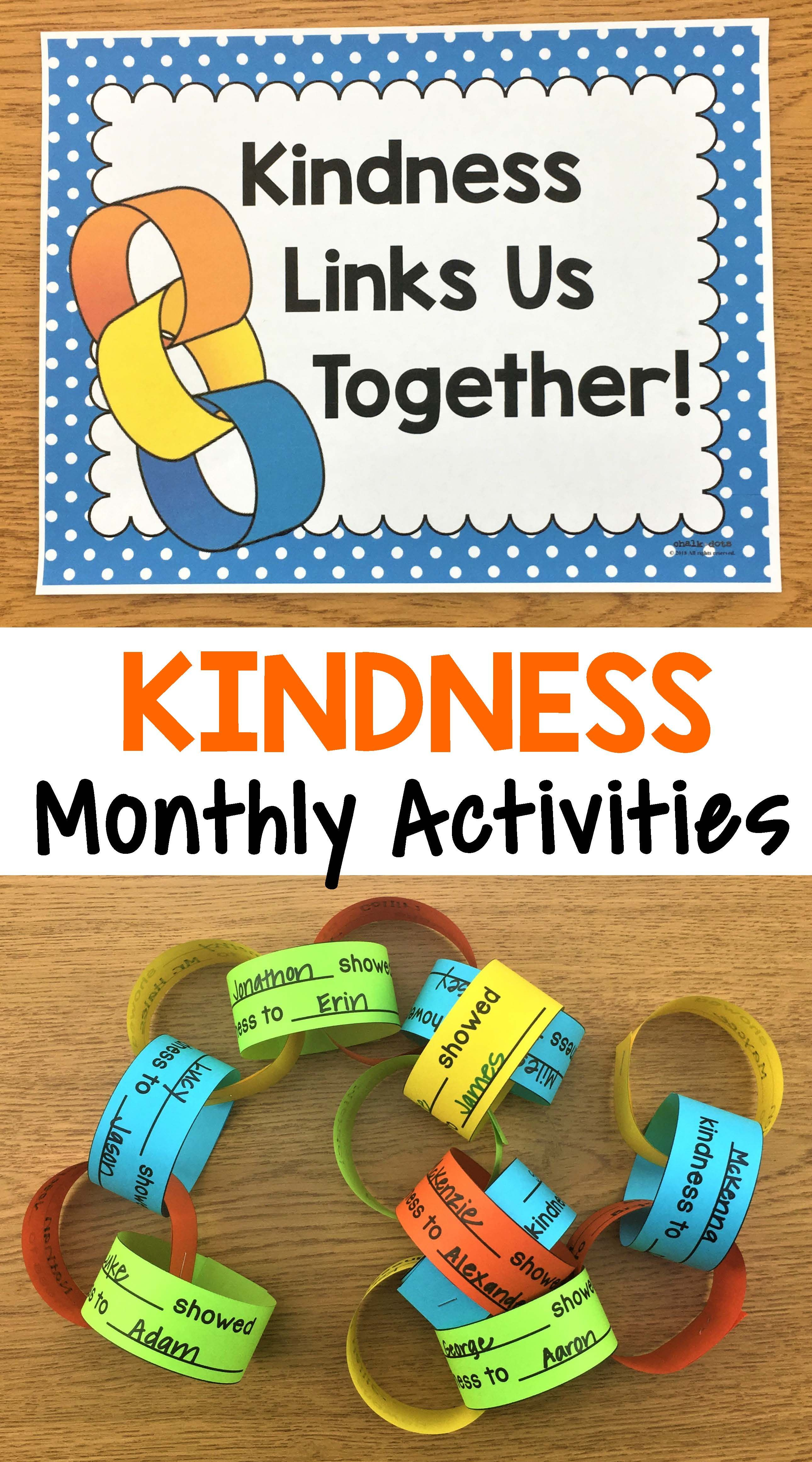 Kindness Activities Monthly Kindness Activities and Posters is part of Kindness activities - Spreading Kindness  This resource is a great way to promote a positive and kind classroom throughout the entire school year  It was designed for encouraging kindness in the school classroom, but it could also be used for children in church group settings or in family settings as well  I have incl