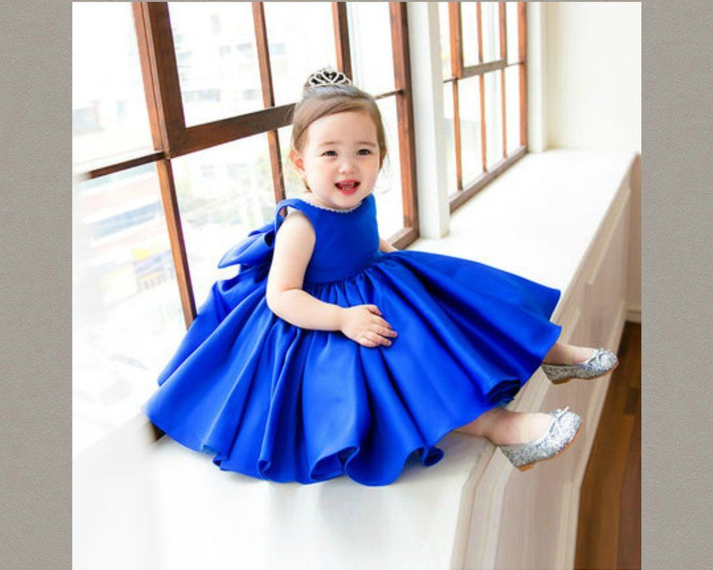 Big bow ruffles dress royal blue flowers blue flower girl big bow ruffles dress ombrellifo Image collections