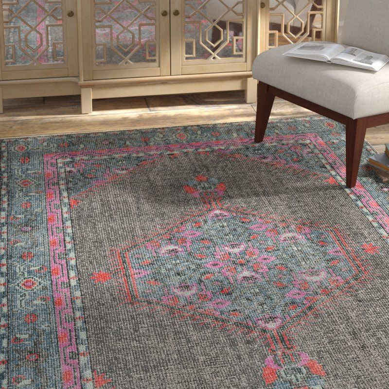 Fender Hand Knotted Charcoal Blue Pink Area Rug Rugs Area Rugs Oriental Area Rugs