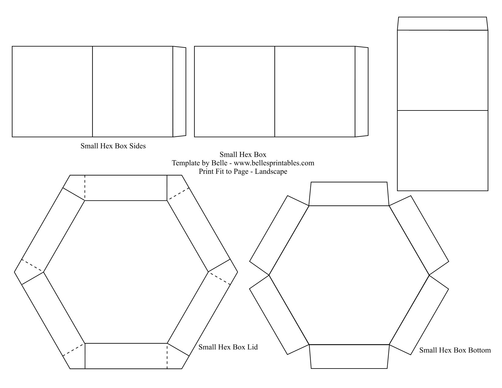 Free hexagon box template - from Belles printables here: http://www ...