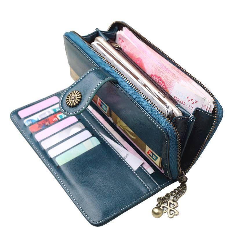 Zip Around Women Organizer Wallet PU Clutch Long Purse Boho Style