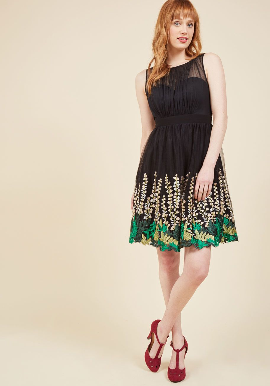 f1f88ab582e7e Beautifully Abloom Fit and Flare Dress in Black