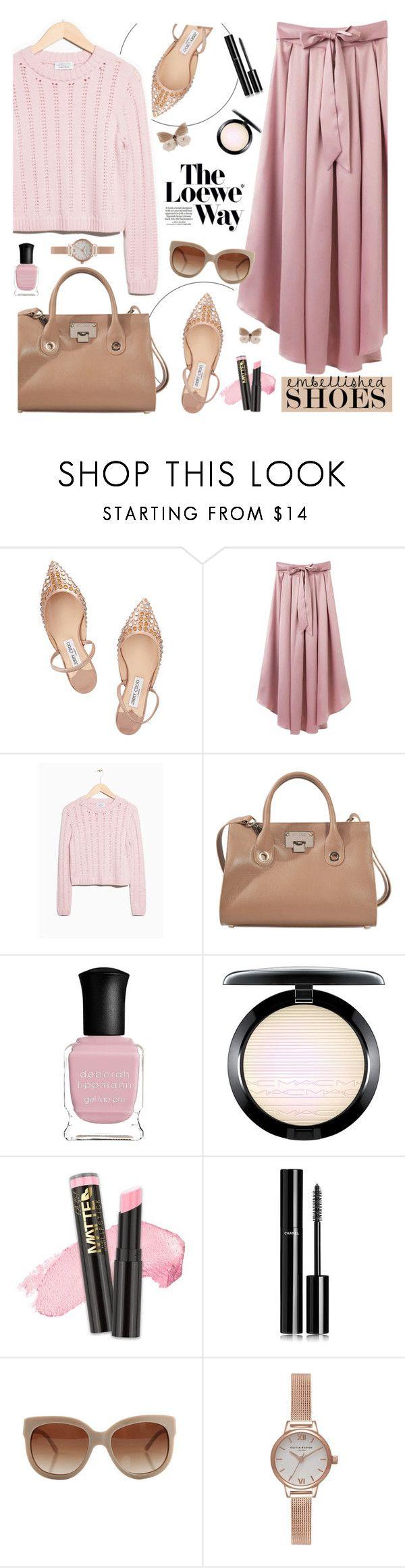 """Embellished Shoes"" by tamara-p ❤ liked on Polyvore featuring Jimmy Choo, Loewe, Deborah Lippmann, Chanel, STELLA McCARTNEY and embellishedshoes"
