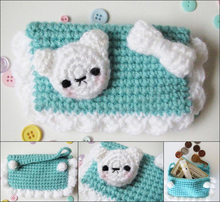 Kawaii bear crochet amigurumi coin purse teal by hellohappycrafts ...