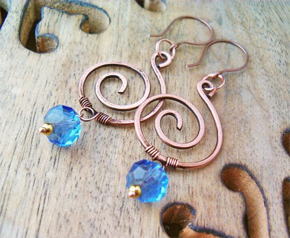 Wire Wrapped Spiral Earrings Copper and Blue by GearsFactory, €14.00