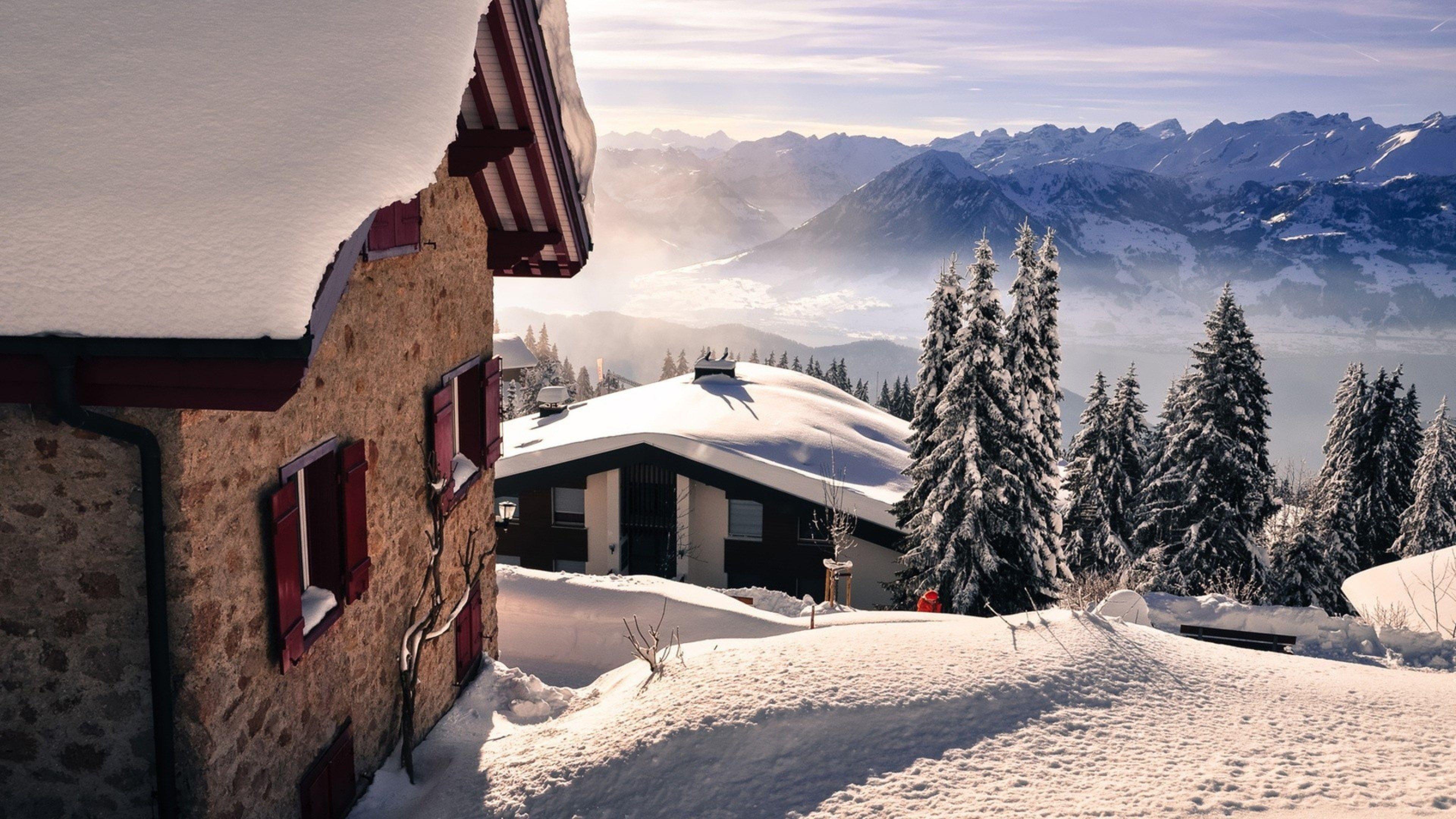 Snow Mountains Winter Wallpaper Hd